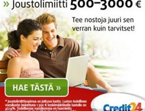 Credit24:n joustolimiitti on markkinoiden edullisin lainaratkaisu